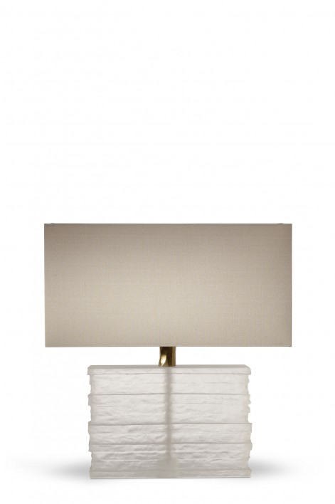 Crystal Strata Lamp | Clear with Antiqued Brass collar