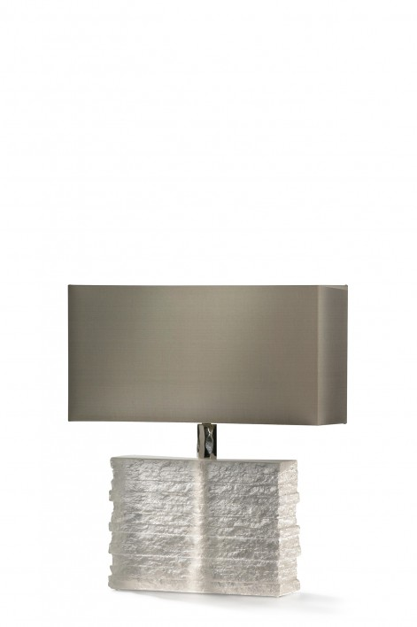 Crystal Strata Lamp | Clear with Nickel collar