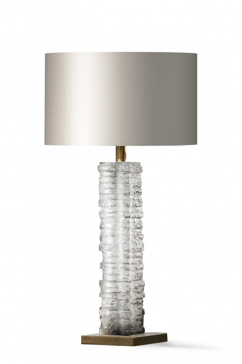 Crystal Strata Column Lamp | Clear with Antiqued Brass base