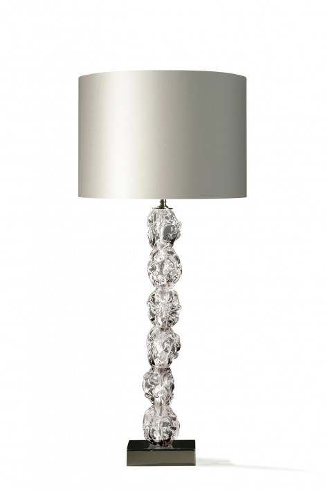 Rock Glass Lamp | Clear with Nickel base