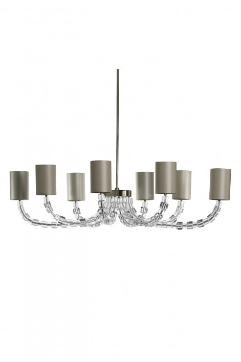Oval Lartigue Chandelier | Clear crystal with Nickel