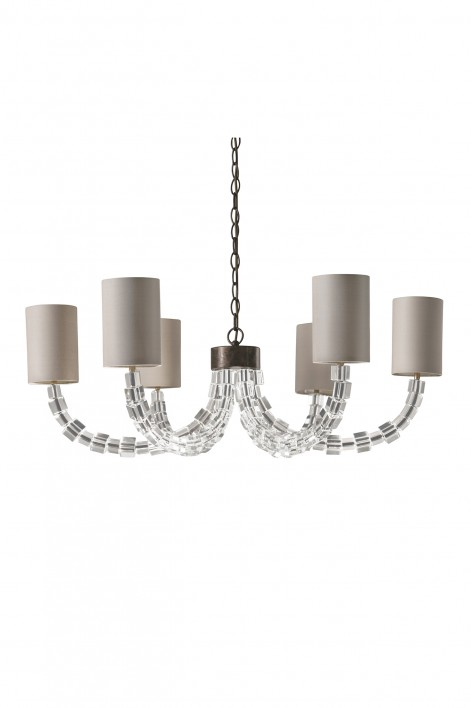 Round Lartigue Chandelier | Clear crystal with Burnt Silver