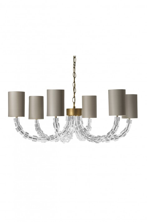 Round Lartigue Chandelier | Clear crystal with French Brass