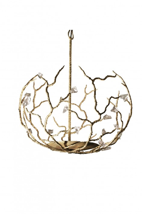Large Blossom Chandelier | White Gold with Glass detail