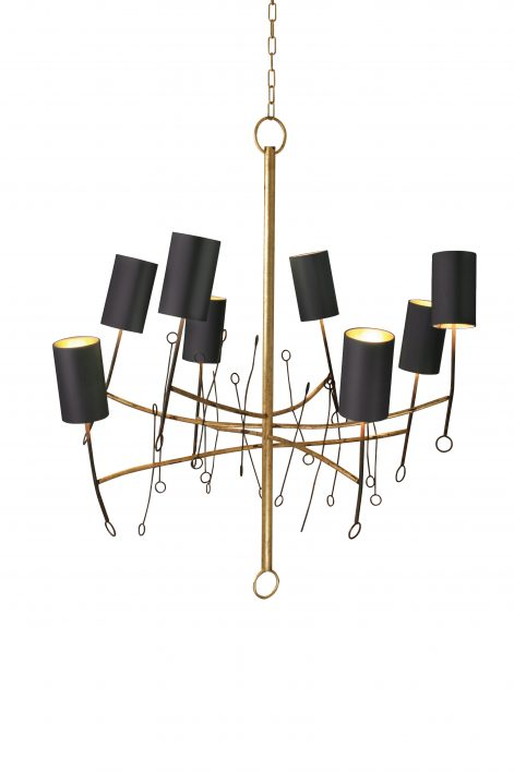 Large Lollipop Chandelier | Scratched Gold with Fired Copper