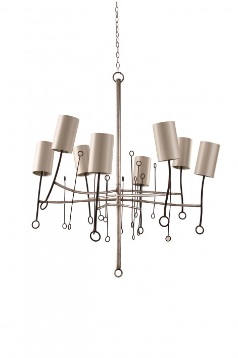 Large Lollipop Chandelier | Scratched Silver with Fired Copper