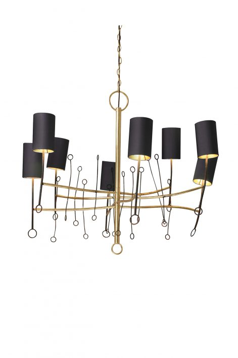 Short Lollipop Chandelier | Scratched Gold with Fired Copper