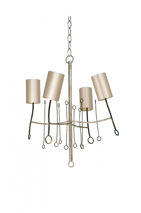 Extra Small Lollipop Chandelier | Scratched Silver with Fired Copper