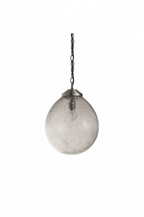 Large Orb Pendant | Clear with Bright Silver