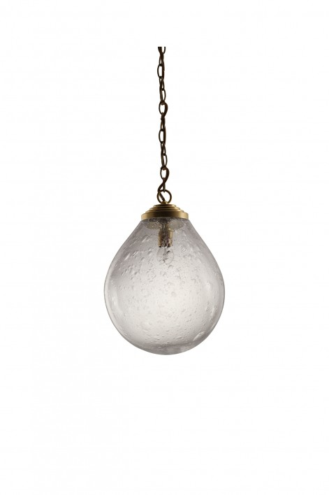 Large Orb Pendant | Clear with Bright Gold