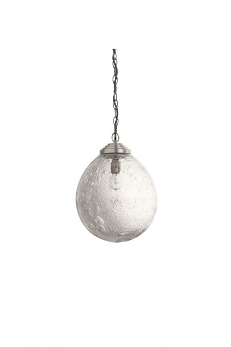 Medium Orb Pendant | Clear with Bright Silver