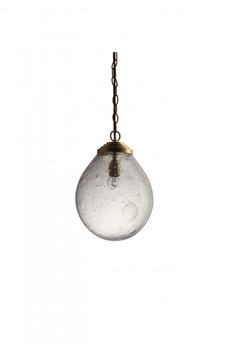 Medium Orb Pendant | Clear with Bright Gold