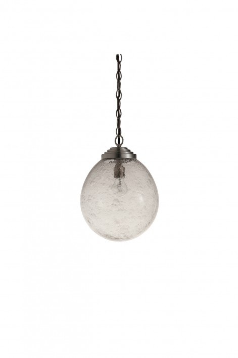 Small Orb Pendant | Clear with Bright Silver