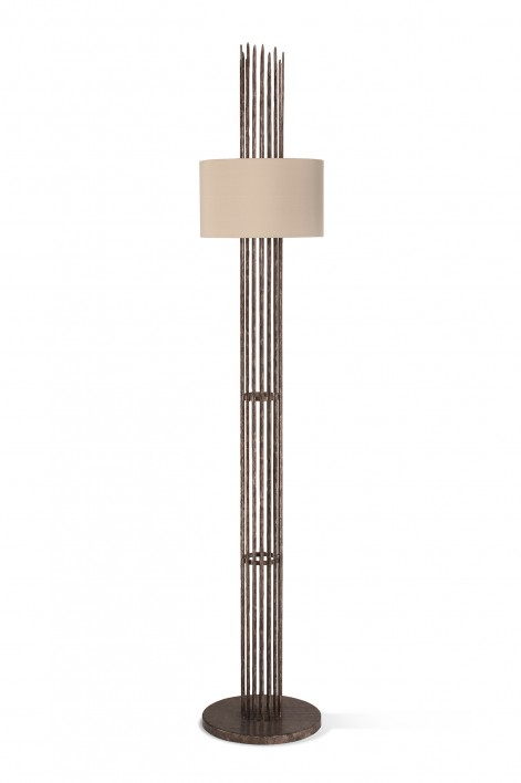 Flynn Caged Floor Lamp | Burnt Silver