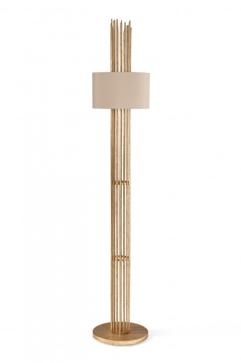 Flynn Caged Floor Lamp | Gold