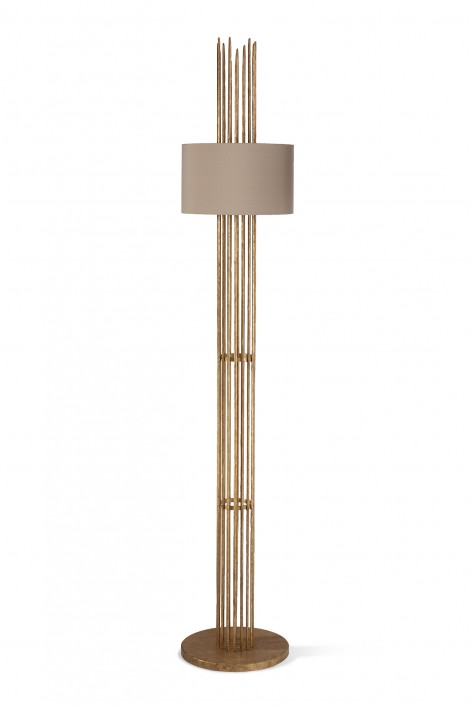 Flynn Caged Floor Lamp | White Gold