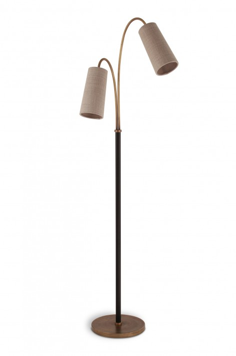 Kelly Floor Lamp | Antiqued Brass and Black