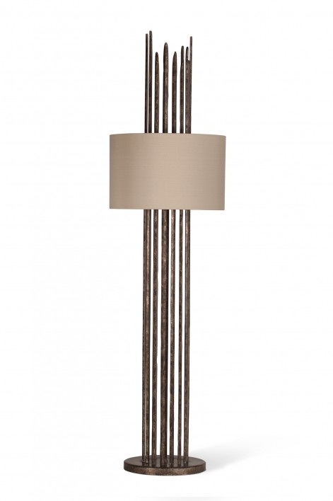 Flynn Caged Lamp | Burnt Silver