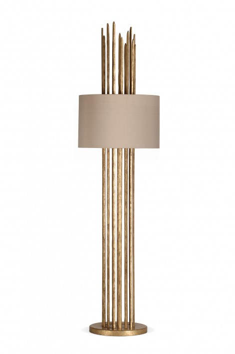 Flynn Caged Lamp | White Gold