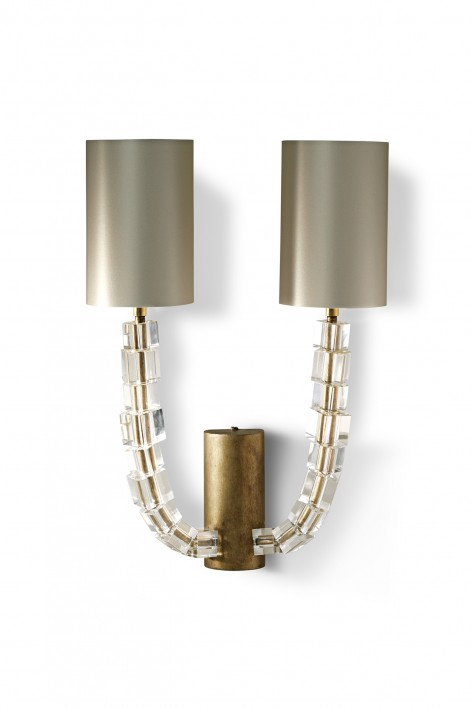 Large Lartigue Wall Light | Clear crystal with French Brass