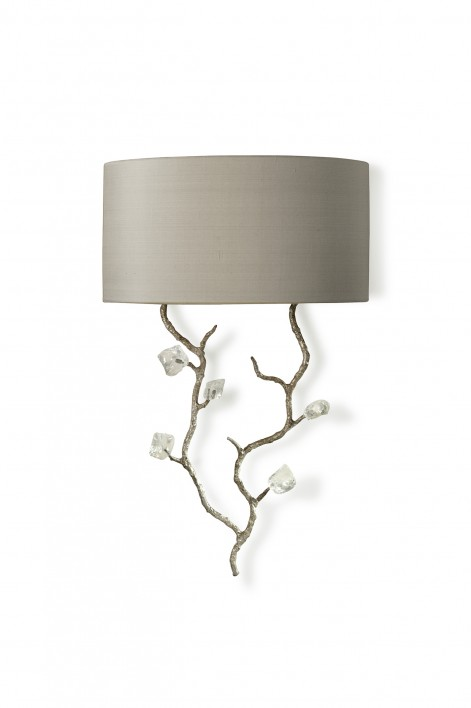 Trailing Blossom Wall Light | Decayed Silver with Glass detail