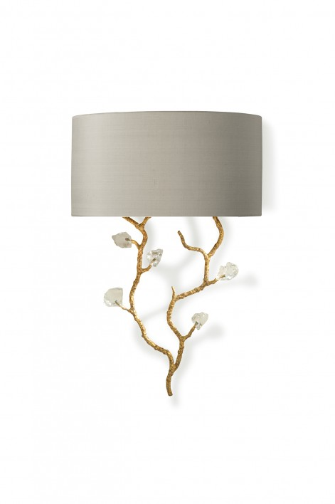 Trailing Blossom Bathroom Wall Light | White Gold with Glass detail