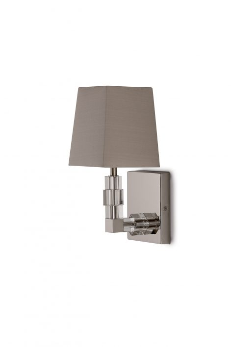 Baby Lartigue Bathroom Wall Sconce | Clear crystal with Nickel