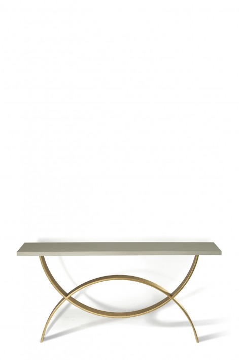 Small Fishtail Console Table | Pale Gold with Faux Limestone top