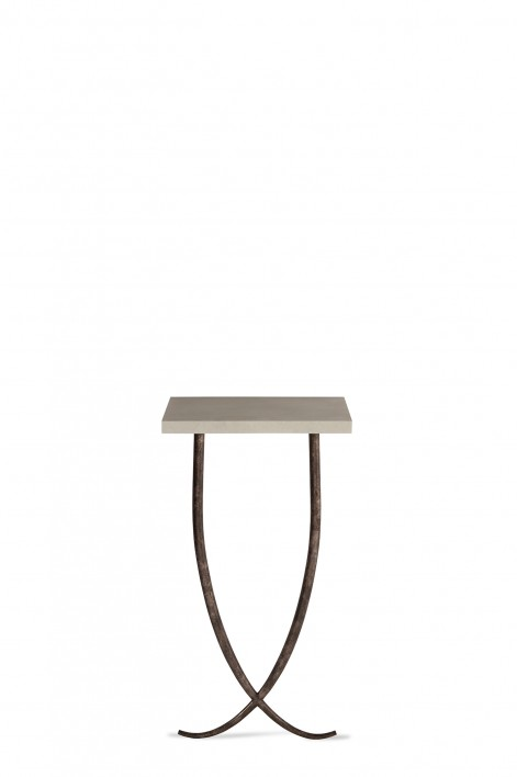 Small Ephrussie Console Table | Burnt Silver with Faux Limestone top