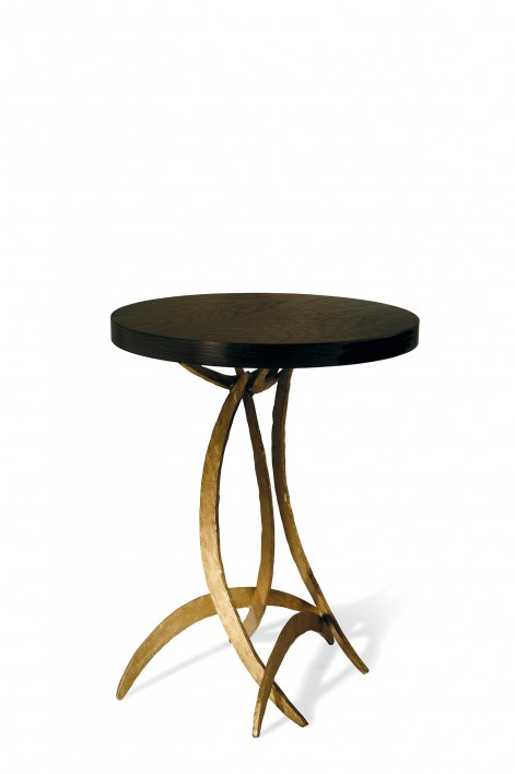 Large Miro Side Table | French Brass with Dark Fumed Oak top