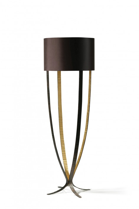 Alfonse Floor Lamp | Fired Copper with Bright Gold