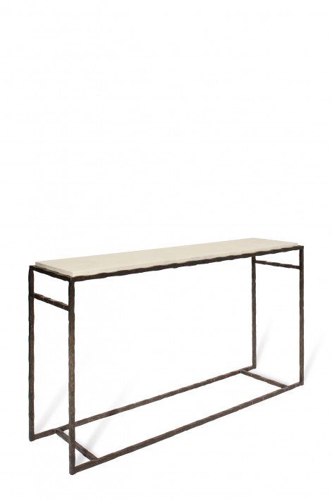 Large Giacometti Console Table | Bronzed with Faux Limestone top