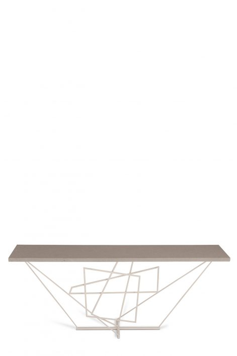 Rhomboid Console Table | Plaster White with Faux Concrete top