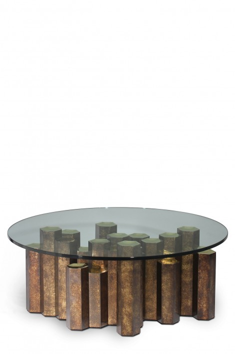 Hive Coffee Table   Patinated Brass with Clear Glass top