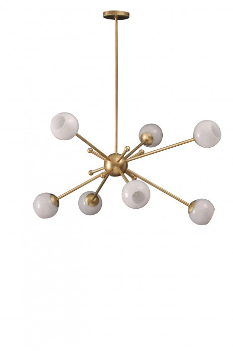 Orbit 2 Chandelier | Bright Brass with Milk Glass