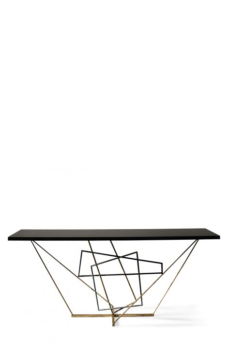 Rhomboid Console Table   Verdigris, Scratched Gold and Fired Copper with Black Lacquer top