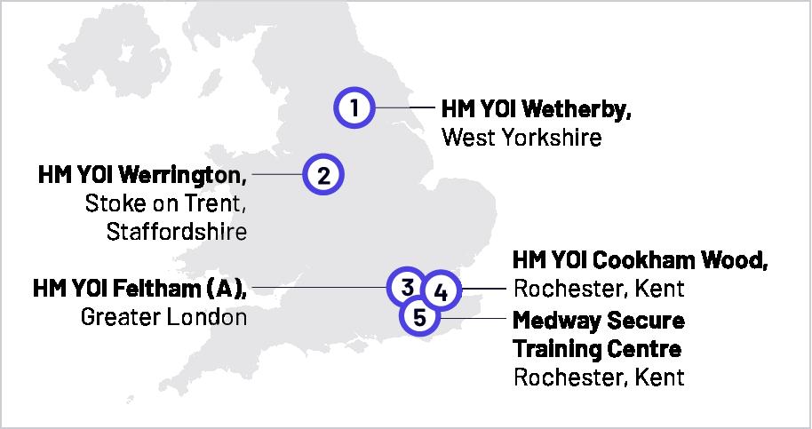 Youth custody locations