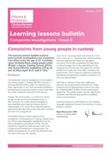 Prisons and Probation Ombudsman, young prisoners, learning lessons