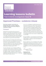 PPO, learning lessons, Approved Premises, substance misuse