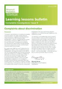 Prisons and Probation Ombudsman, discrimination complaints