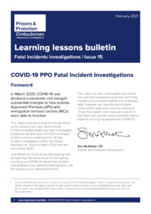 First page of COVID-19 PPO Fatal Incident Investigations Bulletin - decorative purposes only
