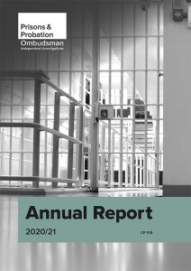 Prisons and Probation Ombudsman 2020/21 Annual Report. For decorative purposes only.