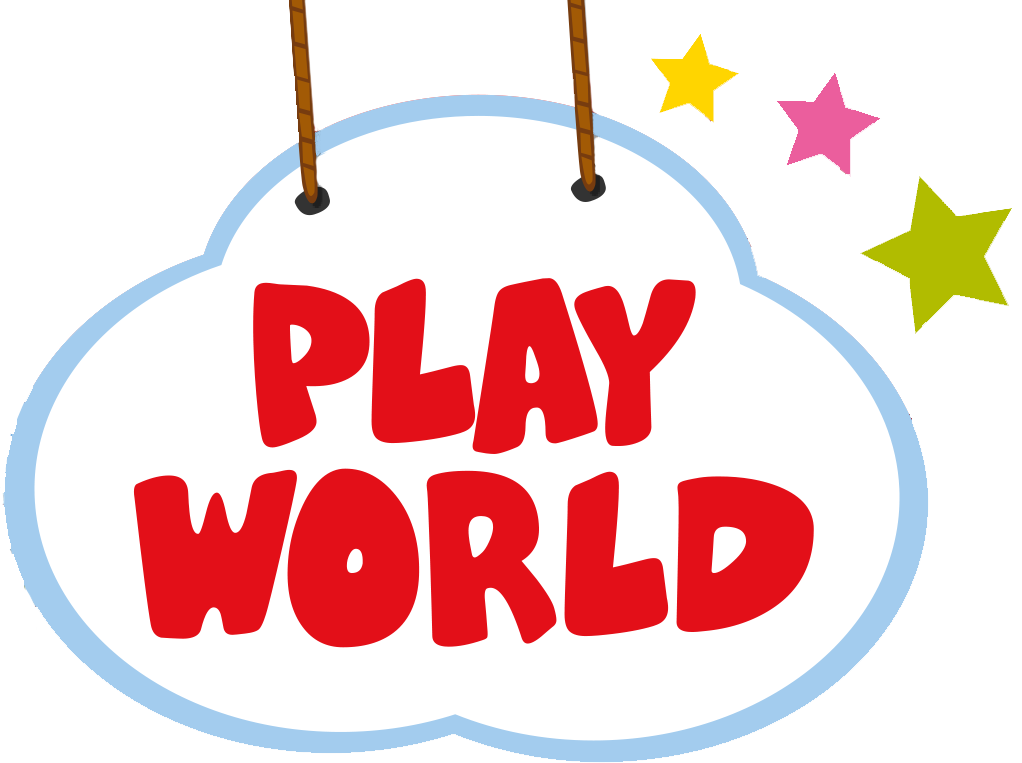 Play world logo - clouds with coloured stars