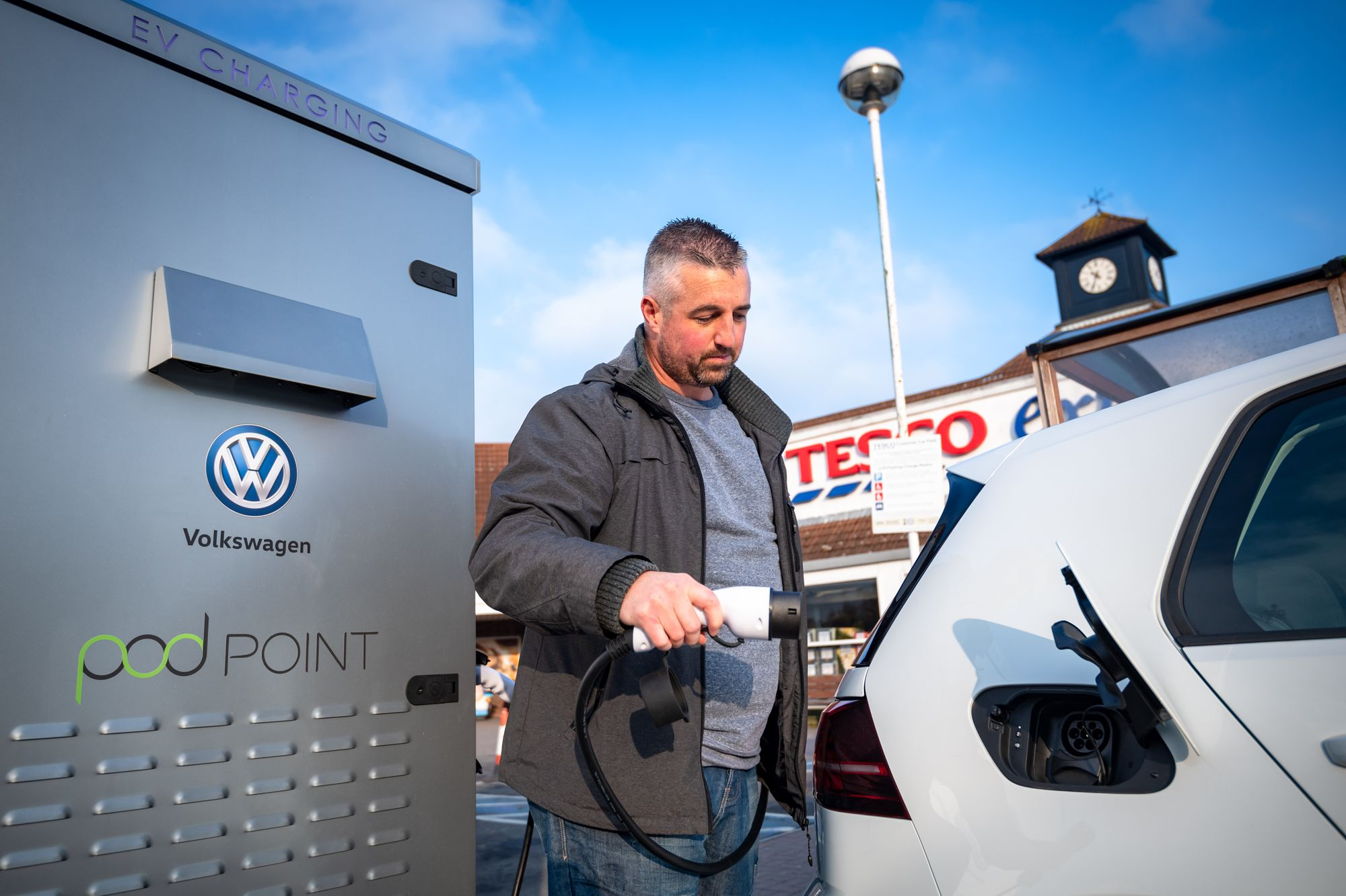 Pod Point & Volkswagen have teamed up with Tesco to offer EV charging while you shop