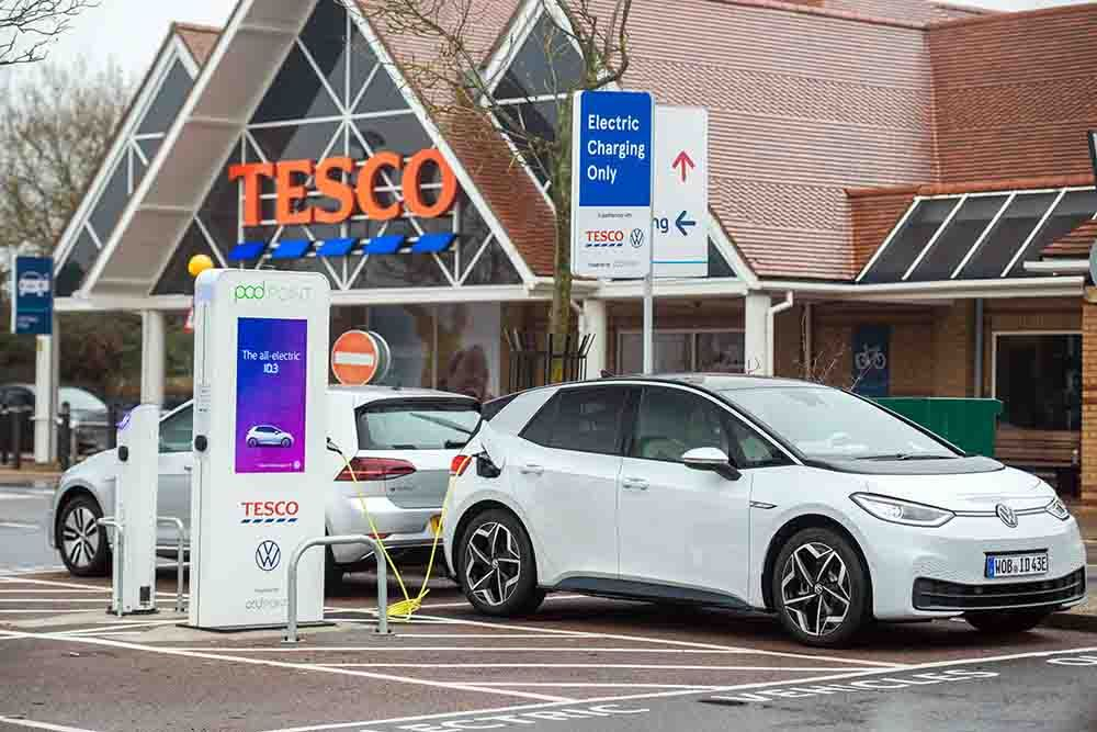 Volkswagen Press Release: VW & Tesco Free Charging EV Charging Network Amps Up, As Over 100 Stores Rolled Out Image
