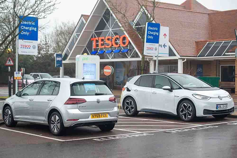 Volkswagen ID.3 & e-Golf on charge at Tesco UK with Pod Point