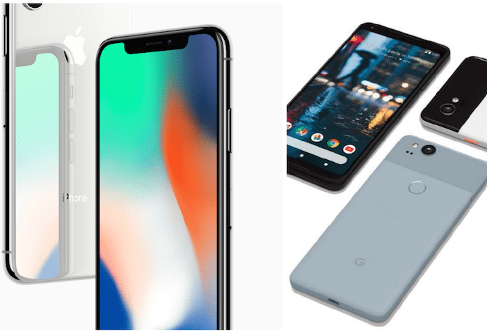 Apple iPhone versus Google Pixel 2 iPhone 8 iPhone X