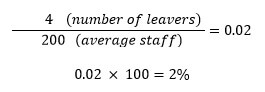 Calculate your staff turnover rate by month