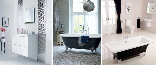 Exceptional Mosaic Bathroom Tiles; Freestanding Roll Top Bath; Black And White Bathroom  Suite Part 28