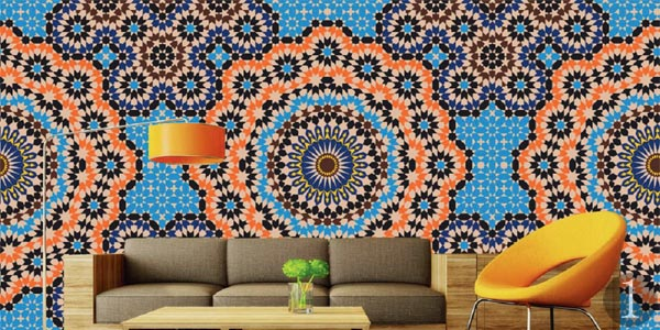 Trompe l oeil wall murals and wall stickers real homes for Mosaic wallpaper for walls